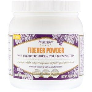 ReserveAge Nutrition  Fibeher Powder with Prebiotic Fiber   Collagen Protein  Lemon  15 5 oz  439 g