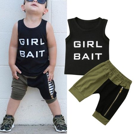 Fashion Toddler Kids Baby Boys Summer Tops T-shirt Harem Pants Leggings 2PCS Outfits Clothes - Boys Kids Outfit