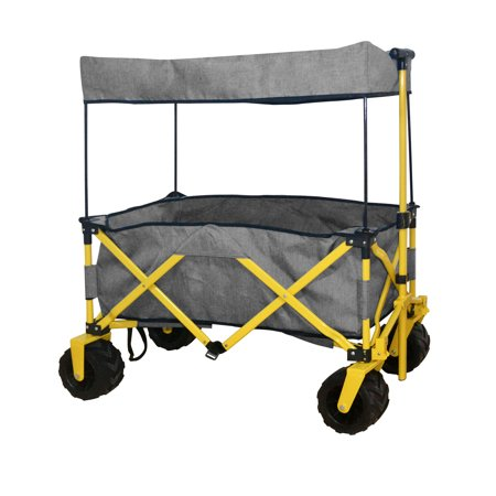 Ez Cart - GREY OUTDOOR FOLDING WAGON CANOPY GARDEN UTILITY TRAVEL CART COMPACT EZ SETUP