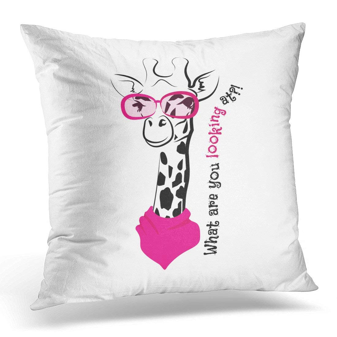 ARHOME Funny Giraffe Pink Sunglasses Label Trend Season Lettering Creative Phrase Youth Doodle Sketch White Had Pillow Case Pillow Cover 20x20 inch