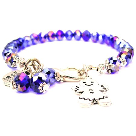 Chubby Chico Charms Cute Smiling Ginger Bread Boy Splash of Color Bracelet in Sapphire Blue - Cute Chubby Teen