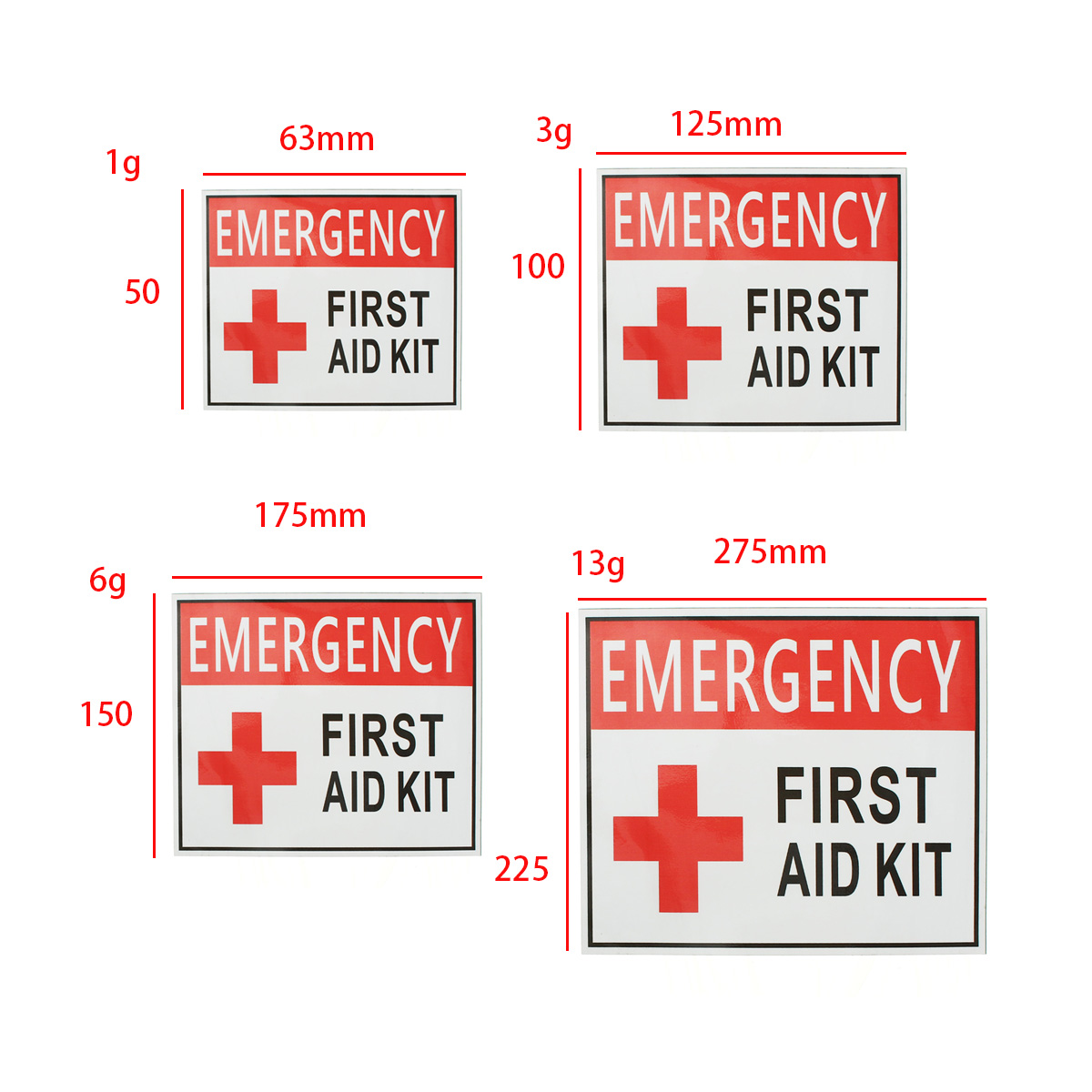 4 Size EMERGENCY FIRST AID KIT Vinyl Sticker Label Signs Red Cross Health Safety Home Living School Outdoor MATCC US,225*275mm color