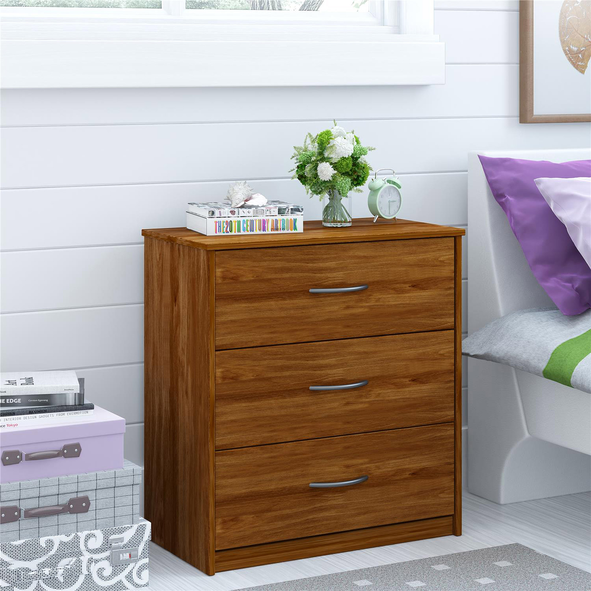 Mainstays 3 Drawer Dresser Bank Alder Walmart