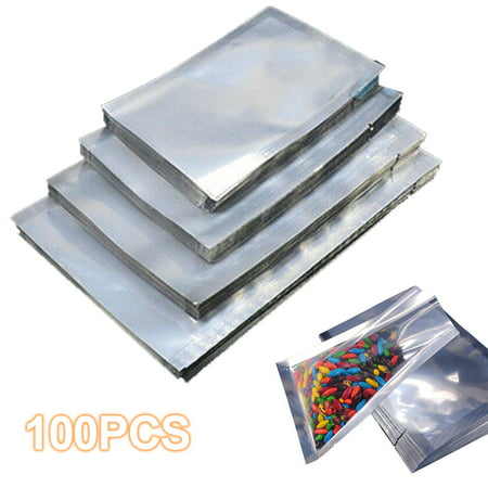 100 Pack Clear Front with Aluminum Foil Back , Resealable Aluminium Foil Bag and Heat Sealable for Food Storage Shopper Plastic Bag Foil