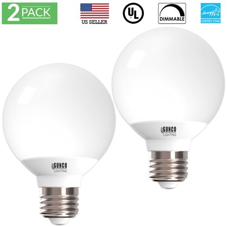 Sunco Lighting 2 Pack G25 Globe LED Light Bulb 6 Watt (40W Equivalent), 3000K Kelvin Warm White 450 Lumens, Dimmable, Omnidirectional Vanity Mirror Light, Energy Efficient - UL & ENERGY STAR LISTED