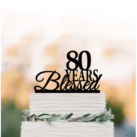 RENEWFOX 80 Years Blessed Cake Topper80th Birthday Anniversary Topper