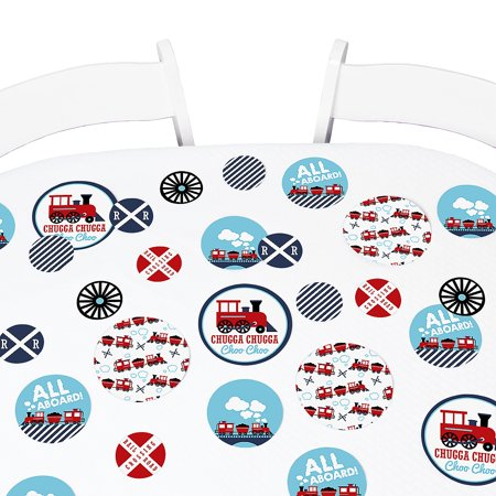 Railroad Party Crossing - Steam Train Birthday Party or Baby Shower Giant Circle Confetti - Party Decorations - 27 Ct