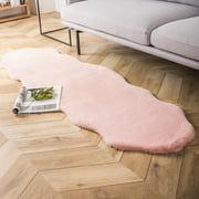 Phantoscope Deluxe Soft Faux Rabbit Fur Series Decorative Indoor Area Rug 2 x 6 Feet, pink, 1 Pack