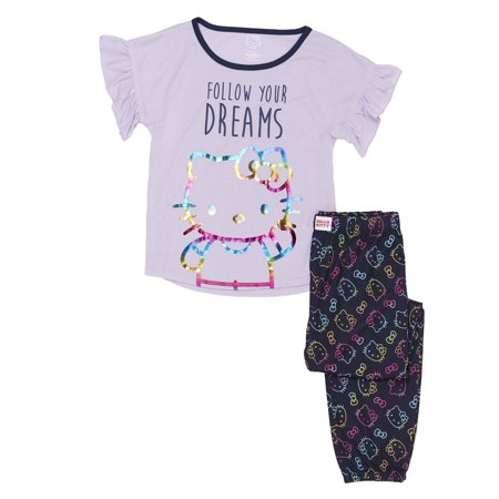 Girls' Hello Kitty Girl's Ruffle Sleeve 2 Piece Pajama Sleep Set (Little Girl & Big Girl) ()