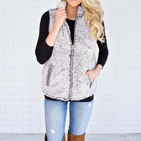Womens Vest Winter Warm Outwear Casual Faux Fur Zip Up Sherpa Jacket GY/M