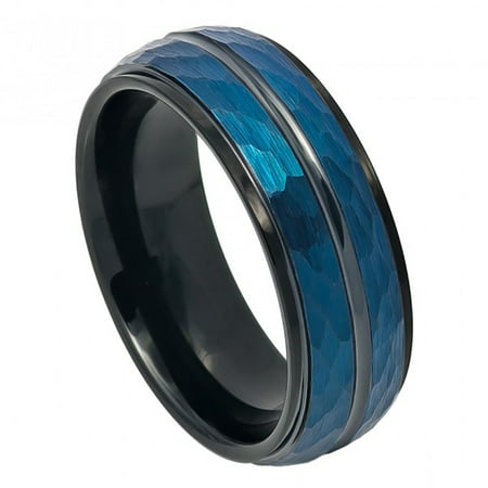 8mm Tungsten Two-tone Blue IP & Black IP Plated Hammered Finish High Polished Stepped/Beveled Edge Wedding Band Ring For Men Or Ladies Polished Edge Wedding Ring