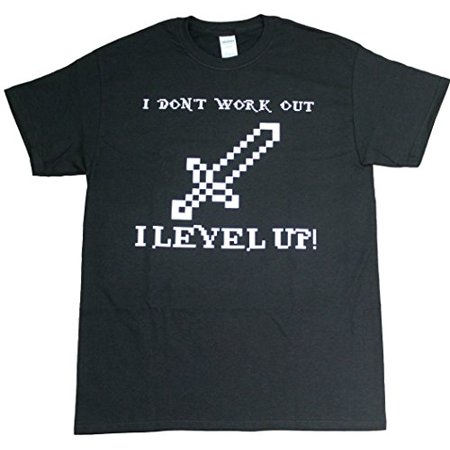 I Don't Work Out I Level Up Video Game Funny Mens Unisex Adult Black T-Shirt (Small)