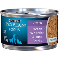 Purina Pro Plan FOCUS Flaked Ocean Whitefish & Tuna Entree Canned Wet Kitten Food, (24) 3 oz. Cans