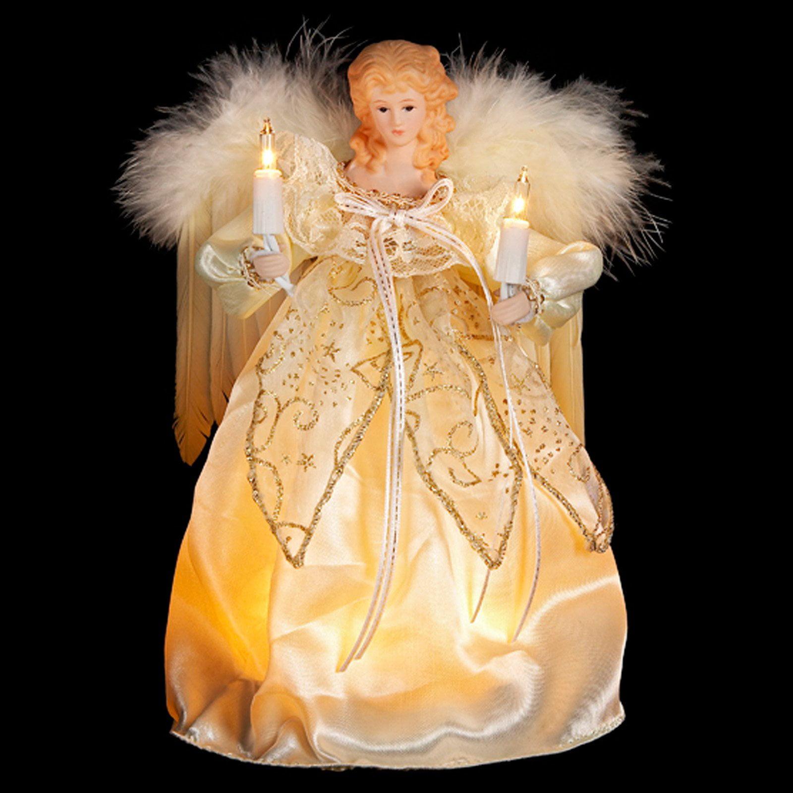 "Kurt Adler 10-Light 9"" Ivory and Gold Angel Treetop"