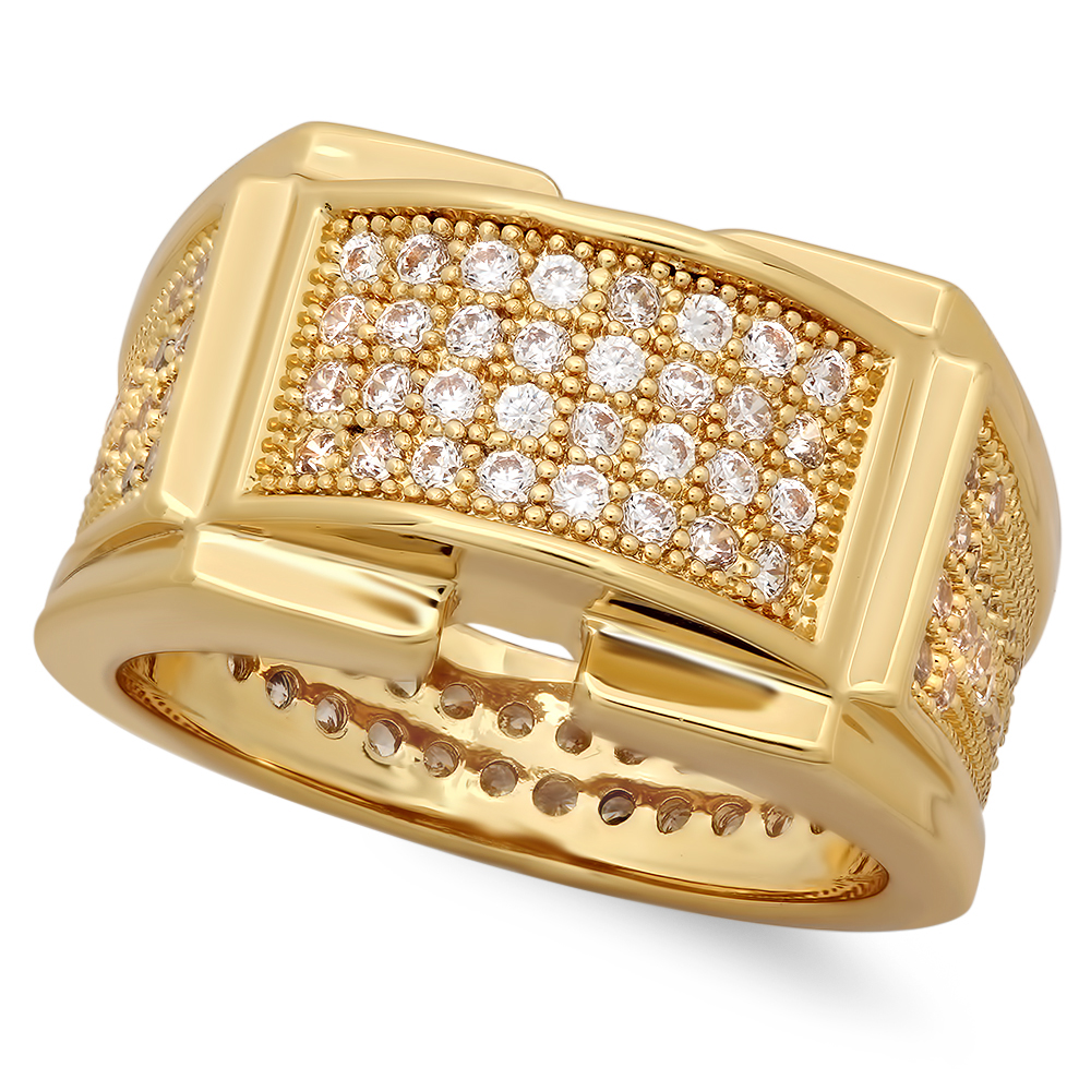 Iced Out 14k Gold Plated Micropave CZ 12.5mm Framed Center Band Ring