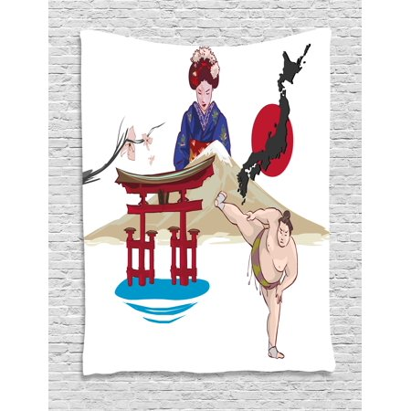 Asian Tapestry, Japanese Woman Traditional Athlete Temple Hand Fan Ethnic Cultural Icons Illustration, Wall Hanging for Bedroom Living Room Dorm Decor, 40W X 60L Inches, Multicolor, by - Asian Fans
