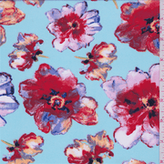 Turquoise/Red Large Floral Print Dobby Crepe, Fabric By the Yard