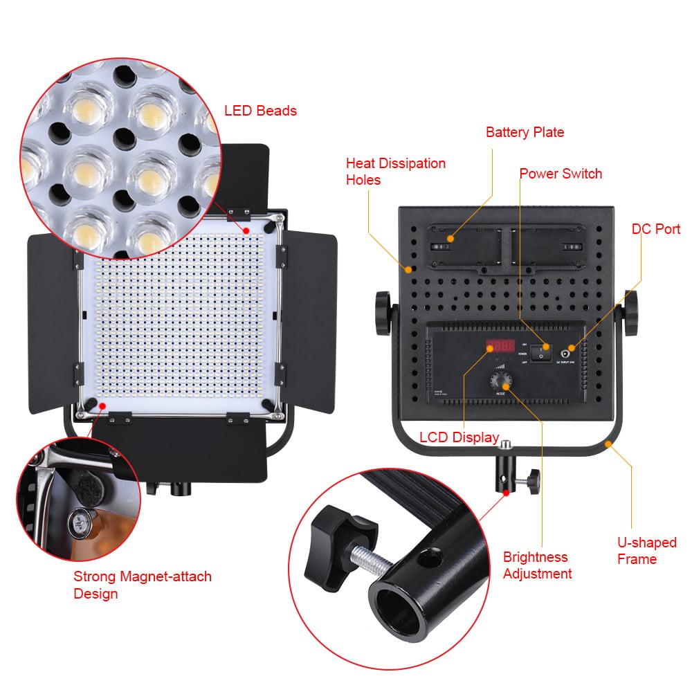 Andoer LED-600A 3pcs LED Video Light Panel Kit 576pcs LED Beads CRI90 5600K//3200K with Barndoor//Filters//Storage Bag