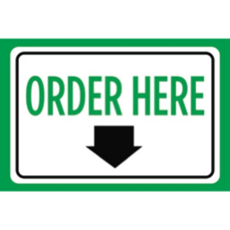 Order Here Print Green White Down Arrow Notice Symbol Store Business Sign (Portable Lighted Business Sign)