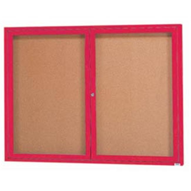Aarco Products DCC3648RIR 48 inch W x 36 inch H Illuminated Enclosed Bulletin Board - Red