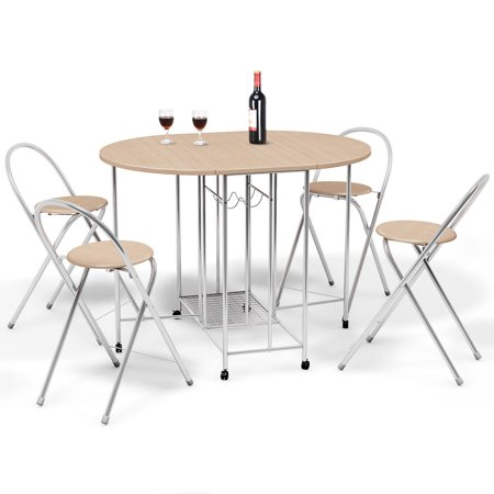 Solid Wood Pole - Costway 5PC Foldable Dining Set Table and 4 Chairs Breakfast Kitchen Furniture