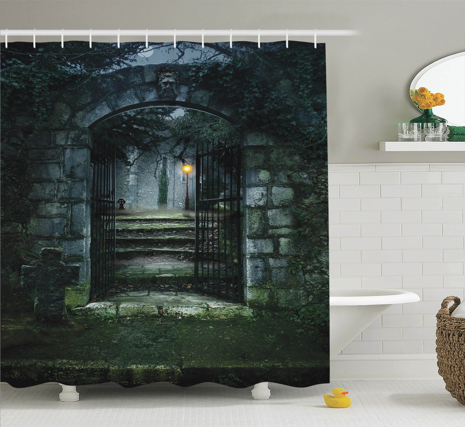 Gothic Decor Shower Curtain Set, Illustration Of The Gate