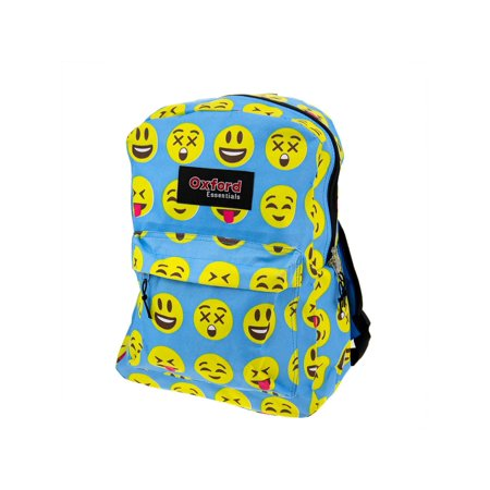 Kids Oxford Essentials Emoji  15 Backpack Emoticon Faces Bag For School Camping - Bags For Kids