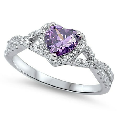 Amethyst Single Stone Ring (Heart Simulated Amethyst Stone Surrounded By Round Cubic Zirconia Swirl Design Ring Sterling Silver)