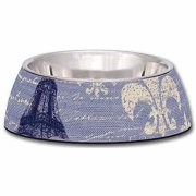 Loving Pets Milano Medium Dog Bowl, Blue Linen