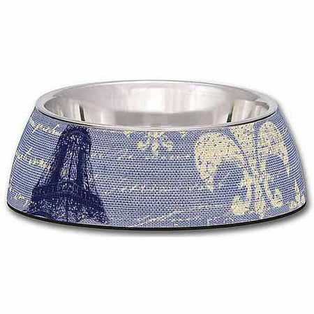 - Loving Pets Milano Medium Dog Bowl, Blue Linen