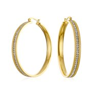 Round Channel Set CZ Large Hoop Earrings Stardust Brush Matte Finish Channel Set CZ Gold Plated Stainless Steel 2 In Dia