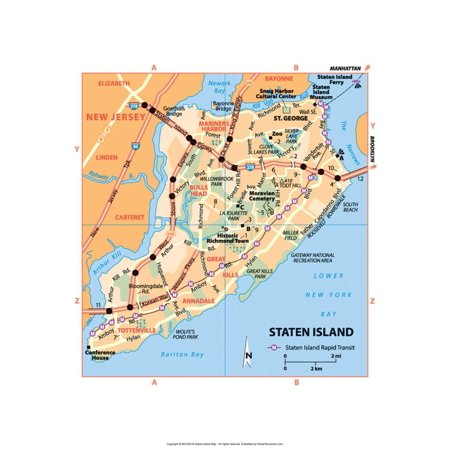 Michelin Official Staten Island NYC Map Art Print Poster - 13x19 - Nyc Halloween Parade Map