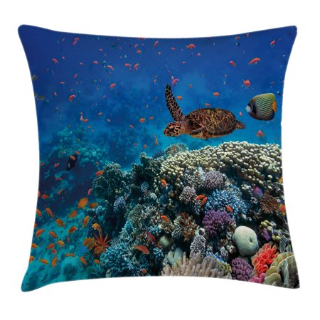 Ocean Decor Throw Pillow Cushion Cover, Exotic Fish and Turtle in Fresh Water on Stony Corals Bio Diversity Wild Life Photo, Decorative Square Accent Pillow Case, 18 X 18 Inches, Multi, by Ambesonne 18' Real Photo Pillows