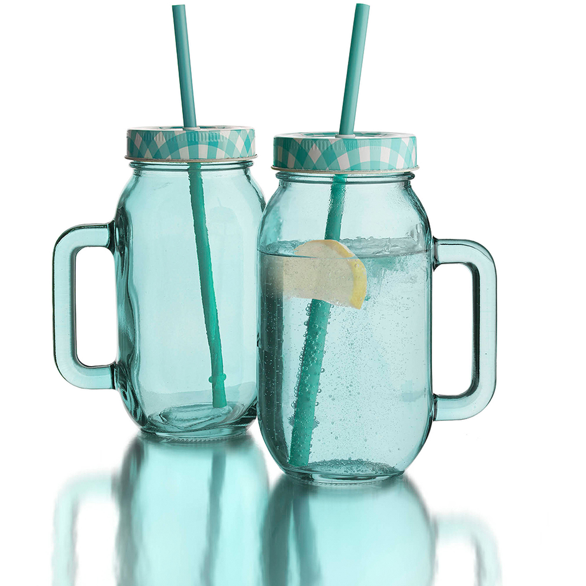 "Blue Set Of 2 Colored Jar With Lid, 24 Oz, 2.5"" X 3.375"" X 6.25"""
