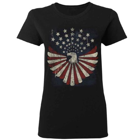Vintage American Flag Eagle Star Women's T-shirt 4th Of July Tee Black Small ()