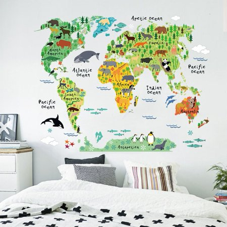 Colorful Animal World Map Wall Sticker Home Decal Mural Art Diy Wall ...