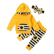 One opening Baby Girl Fall Clothes Cute Sunflower Stripes Print Long Sleeve Top+Pants+Headband 3Pcs Outfits Set