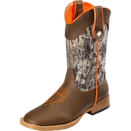 Cowboy Boots For Boys (Double Barrel Western Boots Boys Buck Shot Cowboy Kids Brown)