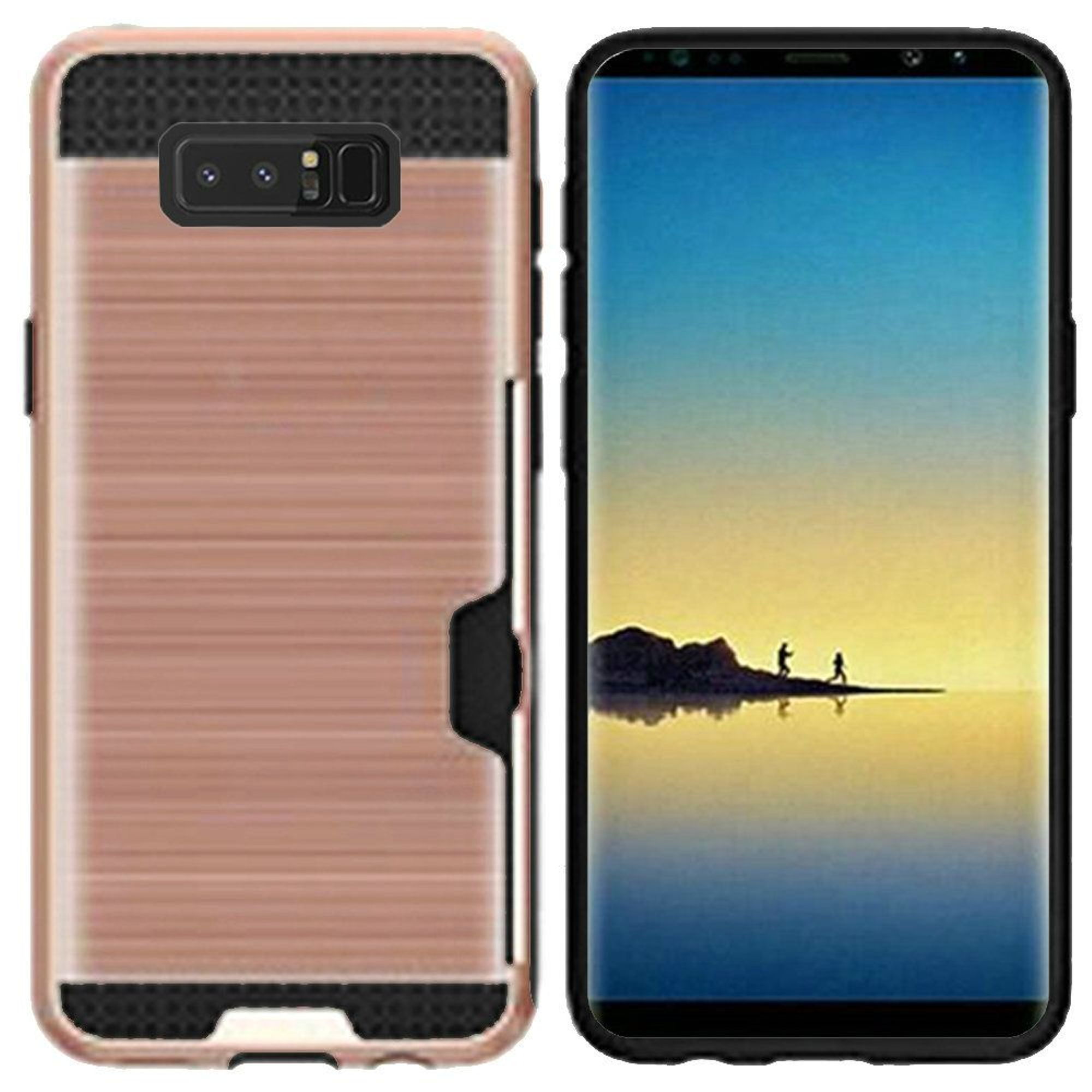 Samsung Galaxy Note 8 Case, by Insten Hard Plastic/Soft TPU Rubber with Card Holder Slot Case Cover For Samsung Galaxy Note 8, Black