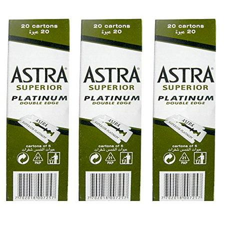 - 100 Astra Superior Premium Platinum Double Edge Safety Razor Blades 3-Count Pack