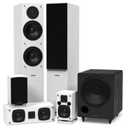 Fluance Elite Series Surround Sound Home Theater 5.1 Channel Speaker System including Three-way Floorstanding, Center Channel, Rear Surround Speakers and a DB10 Subwoofer - White (SX51WHR)