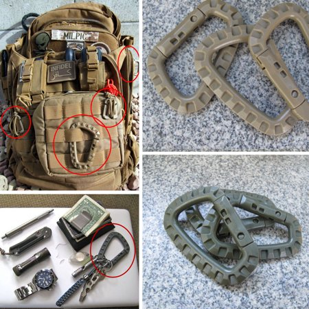 D-Ring Gear Outdoor Military EDC Carabiner Backpack Hook Snap Tactical Keychain](Backpack Keychains)