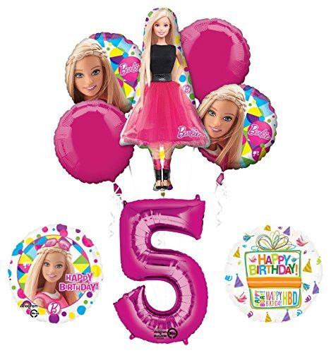 Barbie 5th Birthday Party Supplies and Balloon Bouquet Decorations