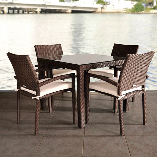 Liberty All-Weather Wicker 5-Piece Patio Dining Set with Armchairs