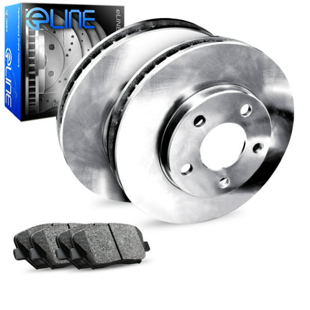 For 2018 Toyota Camry Rear eLine Plain Brake Rotors + Ceramic Brake Pads