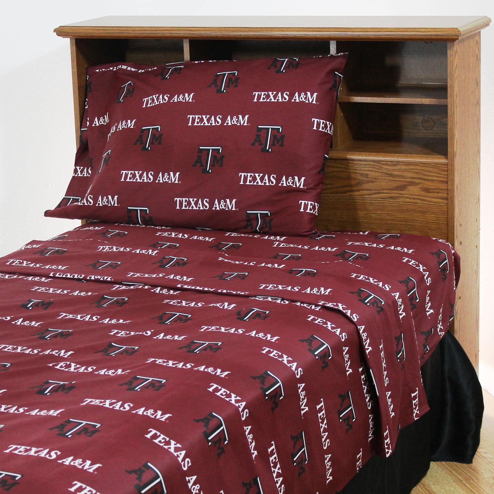Texas A&M Aggies 100% cotton, 4 piece sheet set - flat sheet, fitted sheet, 2 pillow cases, Full, Team Colors