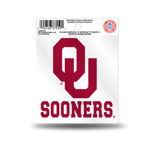 Oklahoma Sooners Official NCAA 3.5 inch  Small Static Cling Window Car Decal by Rico