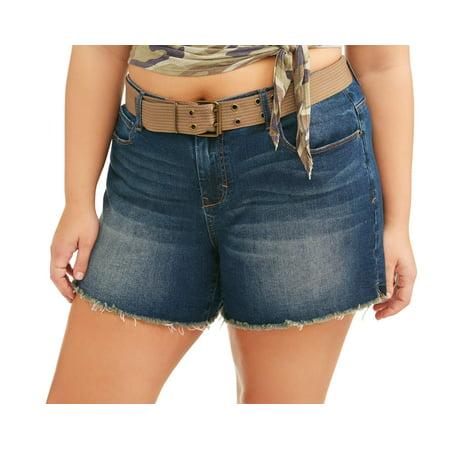 - Women's Plus Belted Raw Fray Hem Boyfriend Denim Shorts