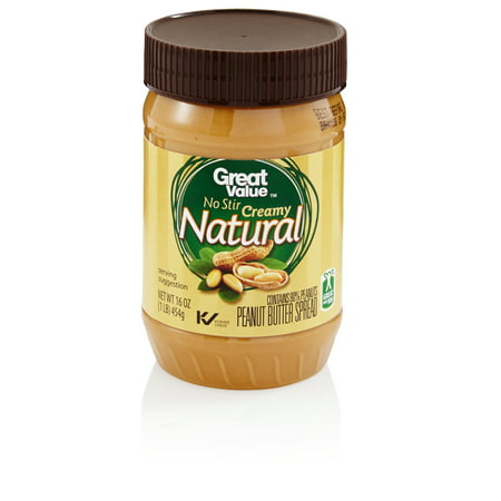 Great Value No-Stir All Natural Creamy Peanut Butter, 16 oz