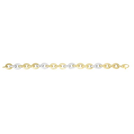 14K Yellow & White Gold Shiny Rounded Chain Link Bracelet 7.75